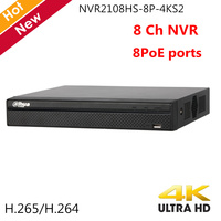 Dahua English 4K 8CH NVR NVR2108HS 8P 4KS2 8 Ports PoE 4K H.265 Network Video Recorder for IP Systems Home security camera