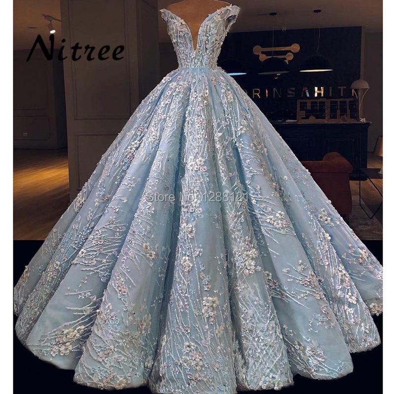 African Arabic Blue Deep V Evening Dresses Dubai Turkish Prom Dress