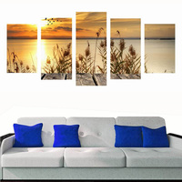 5 Panel Printed Sunset Wall Painting Unframed Canvas Prints Modern Home Decor Wall Art Seascape Picture Spray Painting Art Work