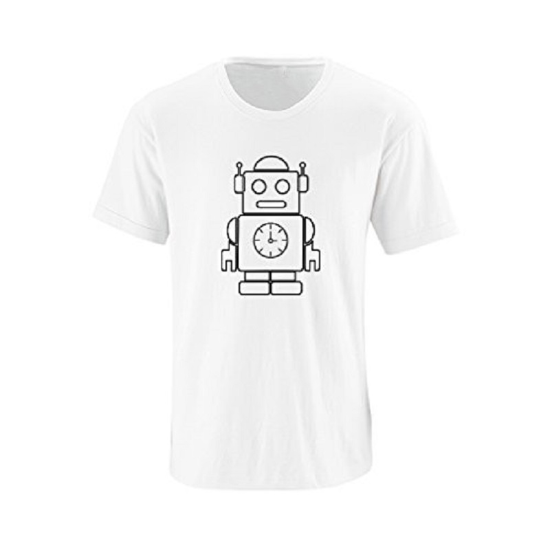 distinctive style large assortment discount price US $11.89 15% OFF|Bulk T Shirts Men'S Short Comfort Soft Crew Neck Cute  Robot Outline Fun Simple Design Unisex Soft Cotton Shirt-in T-Shirts from  ...