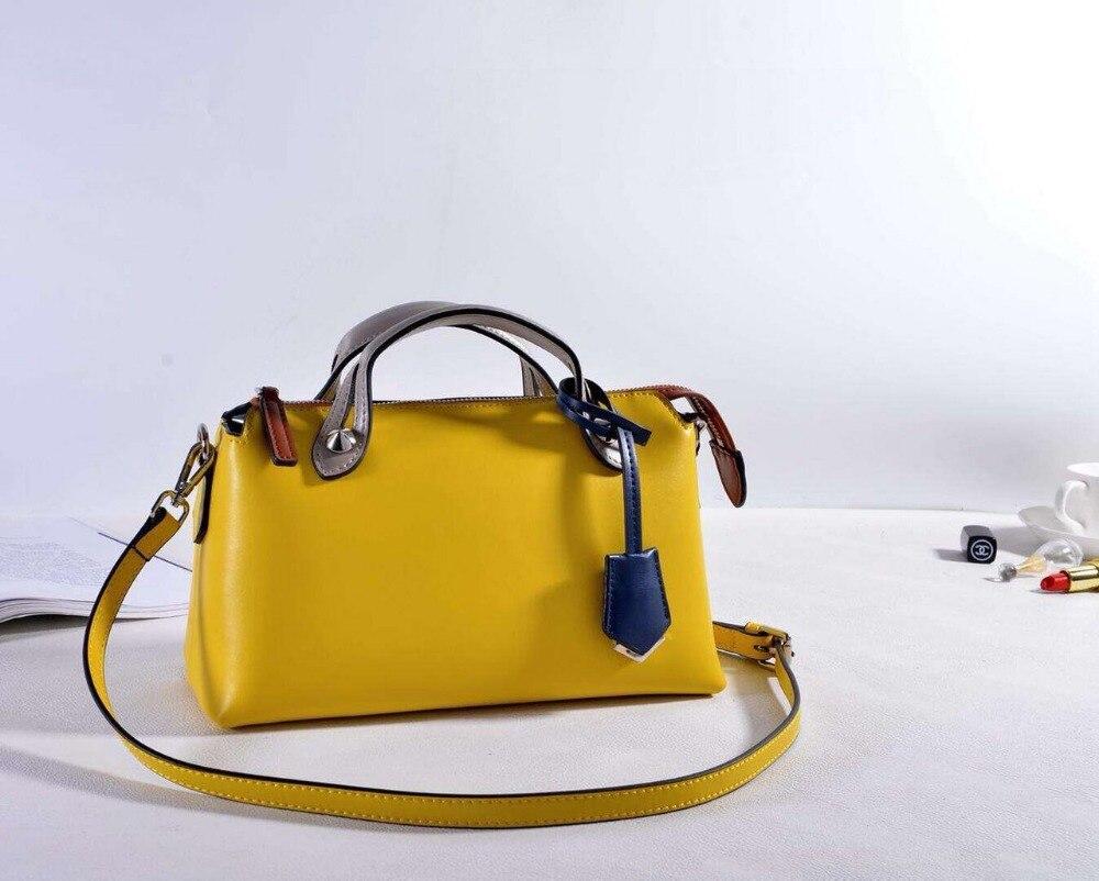 Kafunila 2018 Women real leather mini boston shoulder bag Genuine Leather famous brand High Quality messenger Tote Handbag bolsa