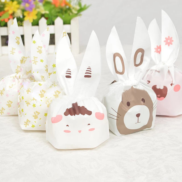 50pcs/lot 14x22cm Cute Rabbit Ear Cookie Bags Self-adhesive Plastic Bags for Biscuits Snack Baking Package Food Bag Home Party
