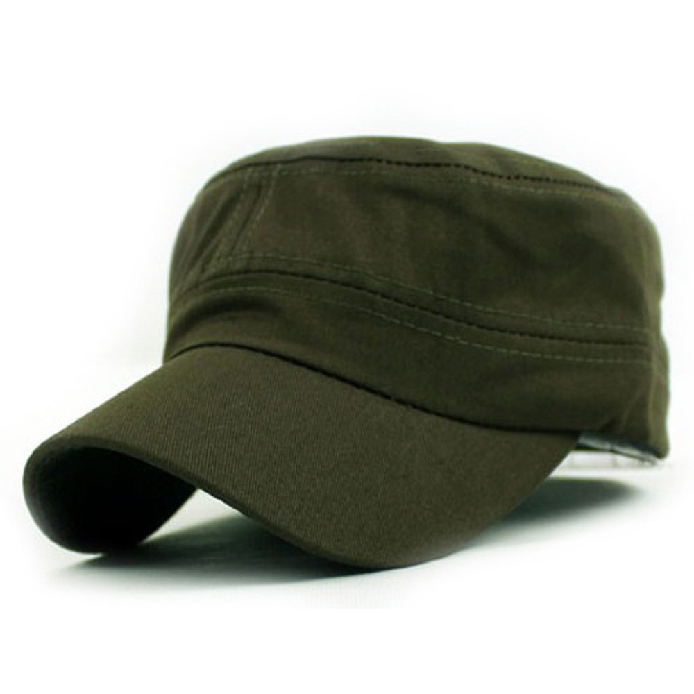 Classic Plain Retro Wind Hat Army Cadet Style Unisex Cotton Cap Army Green Adjustable Z119 With The Most Up-To-Date Equipment And Techniques