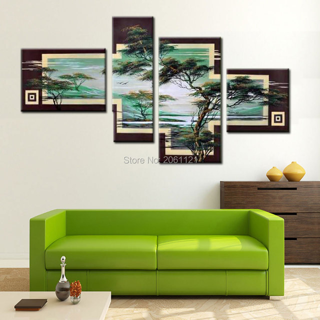 Hand Painted Tree Painting Green Landscape 4 Piece Canvas Wall Art Sets  Modern Abstract Living Room