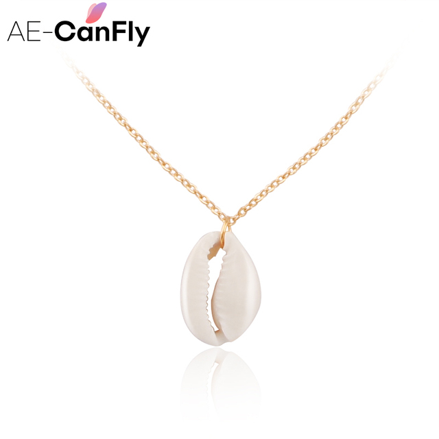 AE-CANFLY Conch Havaiian Shell Pendants Necklace Beach Jewelry Gold Silver Chain