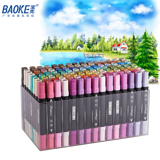 BAOKE 12/24/36/48/72/96/120Color Dual Tips Oil Based Ink Marker Set Permanent Paint Markers Pen for Artist Drawing Mark Supplier