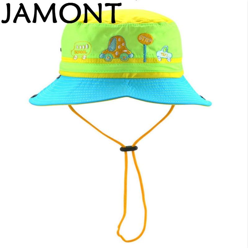 876eaff3058  JAMONT  Cartoon Wide Brim Children Bucket Hat With String Embroidery Kids  Fishing Cap Boy