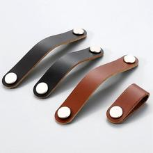 3.75 5 Genuine Leather Dresser Pulls Handles Drawer Knobs Drop Modern Door Handle Brown Black Kitchen Cabinet