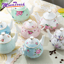 Ceramic Household Teapot European Coffee Pot Kung Fu Office Personal With Flower Pattern Portable Afternoon Tea