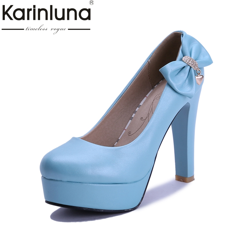 Karinluna New Sweet Bowtie Large Size 32-43 Round Toe Slip On Women Shoes Pumps Spring Platform high-heeled Footwear egonery new sweet lady round toe faux leather slip air spring dress women pumps heels shoes plus size us 12