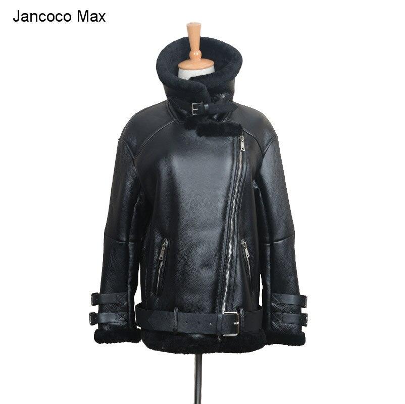 Jancoco Max 2018 Nouvelle Moto En Cuir Punk Veste Biker Vestes Femmes Hommes Véritable Manteau de Cuir Avec de la Vraie Fourrure S1640