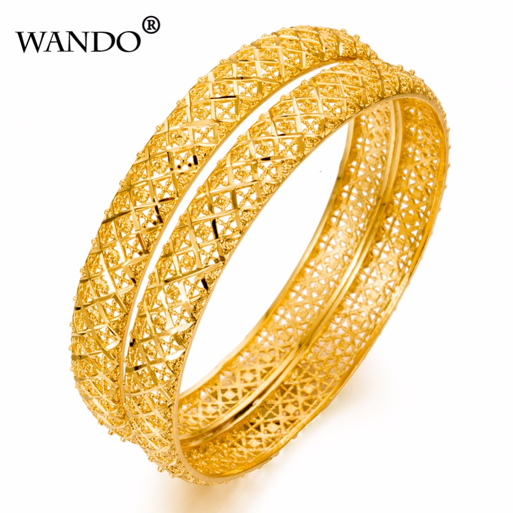 WANDO 1pcs Luxury Ethiopian Bangles For Women 24k Gold ...