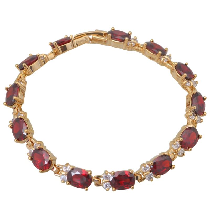 Top Quality Inlay Red Bracelets Gold Bracelet Foliage styles fashion jewelry Garnet Bracelets 18cm 7.08 inch B323