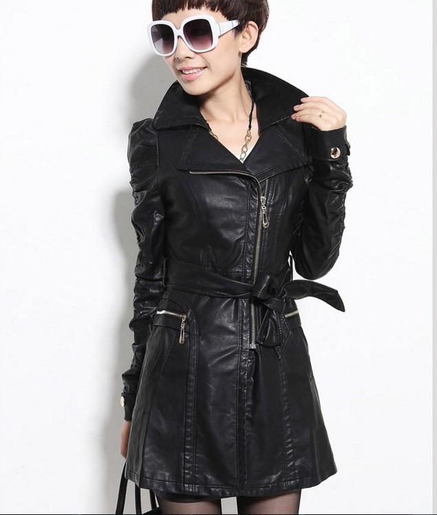 Fashion girl leather jacket women jackets coats long new 2017 ...
