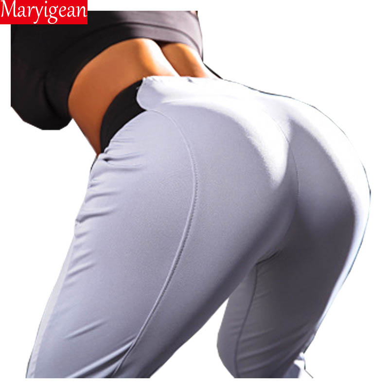 Maryigean Slim Fit High Waist Push Up Leggings Women Fashion Pacthwork Workout Fitness Legging Bodybuilding Sexy Female Pants 5