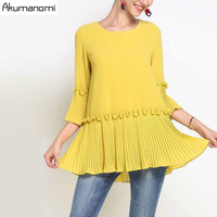 Summer Chiffon Blouse Women Clothing Yellow Black O neck Ruffles Draped Flare Three Quarter Shirt Tops Plus Size 5XL 4XL 3XL M