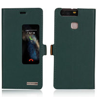 Genuine Natural Cow Cowhide Leather Case Smart View Window For Huawei Ascend P9 Magnetic Phone Cover