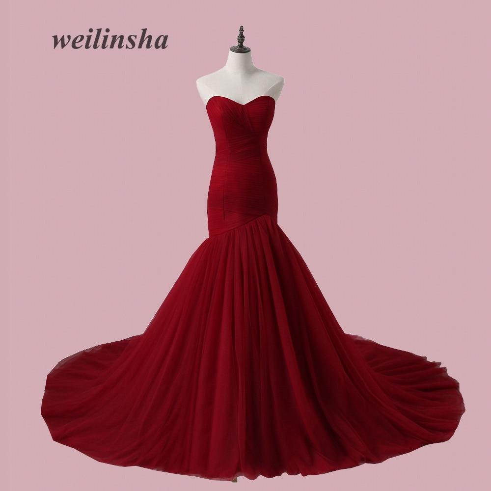 Vestido de novia sin tirantes sin tirantes ADLN plisado Tulle sirena - Vestidos de novia