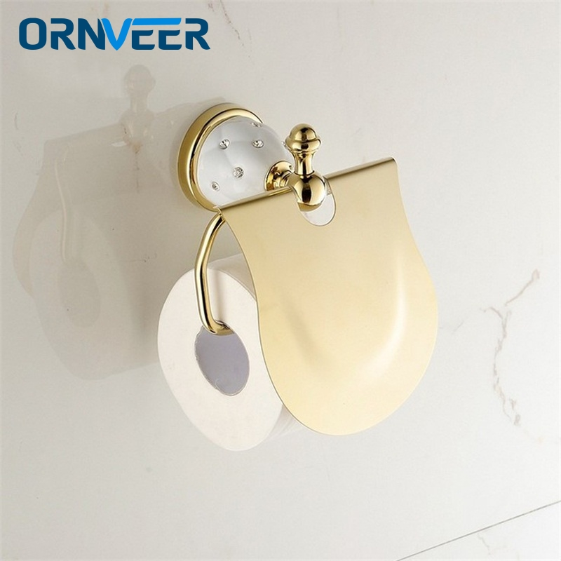 Free Shipping Gold Toilet Paper Holder with diamond,Roll Holder,Solid Brass Bathroom Accessories Products