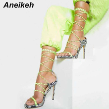 Aneikeh 2019 New Serpentin Pointed Toe Thin High Heels Sandals Women Gladiator Ladies Shoes Lace-Up Pumps Office Black Size35-40