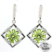 Real 7.7g 925 Solid Sterling Silver Ravishing Green Peridot Cubic Zirconia Woman's Earrings 42x24mm