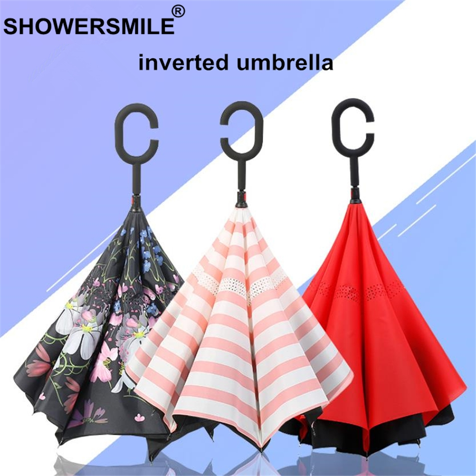 SHOWERSMILE Inverted Umbrella Newspaper Print Folding Reverse Umbrella Windproof Uv Protection Double Layer Inverted Umbrella