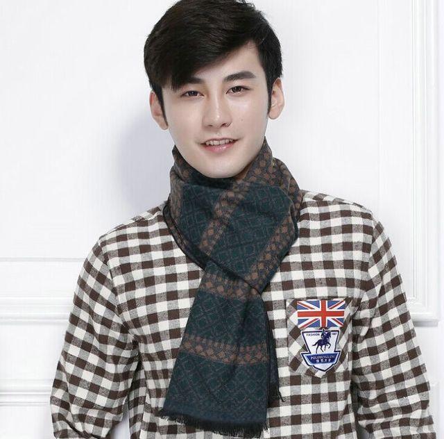 2015 nueva marca para hombre de la bufanda larga de españa desigual seda gruesa bufanda de invierno de los hombres moda casual de lana de cachemira bufanda