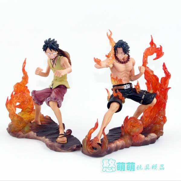 14cm Japanese Anime Cartoon One Piece 2 Years Later Luffy VS Ace PVC Action Figure Toys Dolls OP016 japanese anime cartoon one piece tony tony chopper 2 years later pvc action figures toys 5pcs set with box