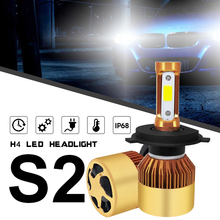 цена на 2pcs Mini LED Auto Headlight High Low Beam Head Lamp H4 HB2 9003 S2 72W 8000LM 6000K White Light for Cars Vehicles
