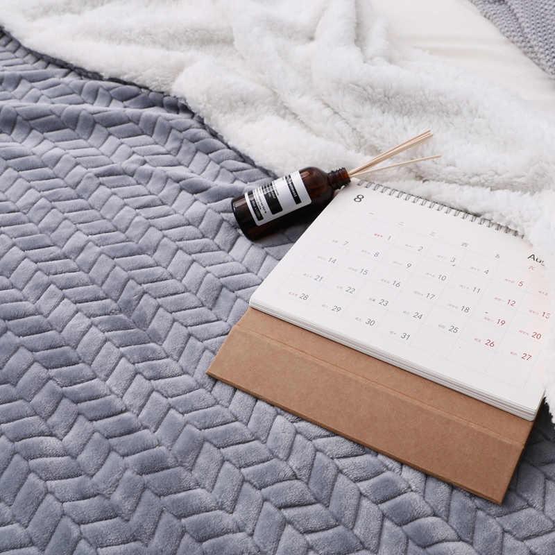 De Lujo Sherpa super suave manta de lana Coral sólido Color Reversible de piel de visón tiro niños adultos mantas en la cama