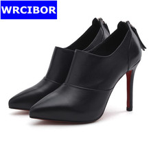 2017 NEW Women Single Shoes Black Genuine leather Pointed toe High heels Lady Fashion Tassel Red bottoms high-heeled shoes