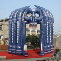 Free Shipping Halloween Clearance Hot Sale 5mW 6mH Skull Arch Halloween Inflatable Outdoor Decoration