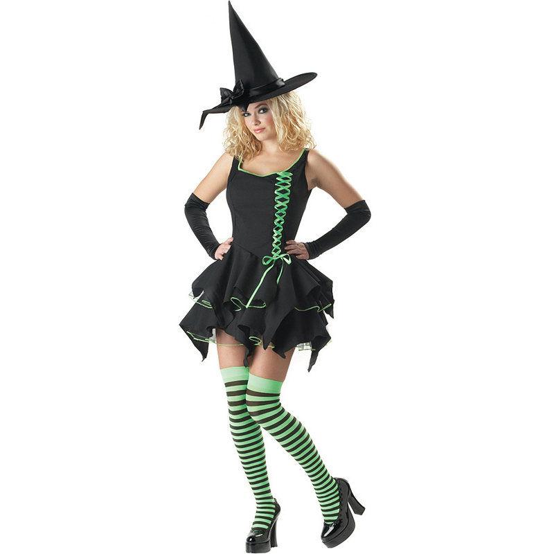 Adulte Gothique Sorcière Femme Halloween Costume Sorcière classique robe chapeau
