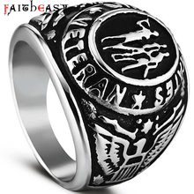FAITHEASY Fashion Stainless Steel Rings For Men US Veteran Theme Men Rock Punk Biker Ring Retro Jewelry Wholesale Drop Shipping