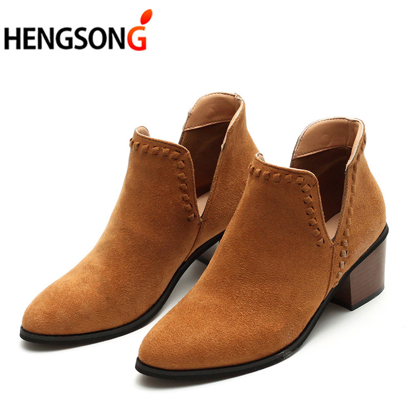 HENGSONG V Shape Pointed Toe Ankle Boots Autumn Shoes Woman Flock Slip-On Winter Boots Women Low Heels Chelsea Boots 2018 New enmayla ankle boots for women low heels autumn and winter boots shoes woman large size 34 43 round toe motorcycle boots