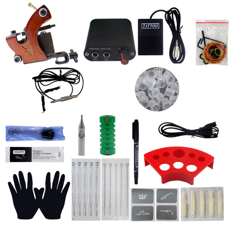 Tattoo Complete Beginner Tattoo Kit 1Pcs Coil Tattoo Machine Guns Power Supply Needle Grips Tips For Body Beauty ToolsTattoo Complete Beginner Tattoo Kit 1Pcs Coil Tattoo Machine Guns Power Supply Needle Grips Tips For Body Beauty Tools
