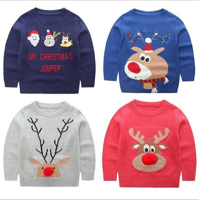 christmas sweaters boys girls toddler thick o-neck cartoon patchwork long sleeve cardigan children clothes autumn winter 3-9T