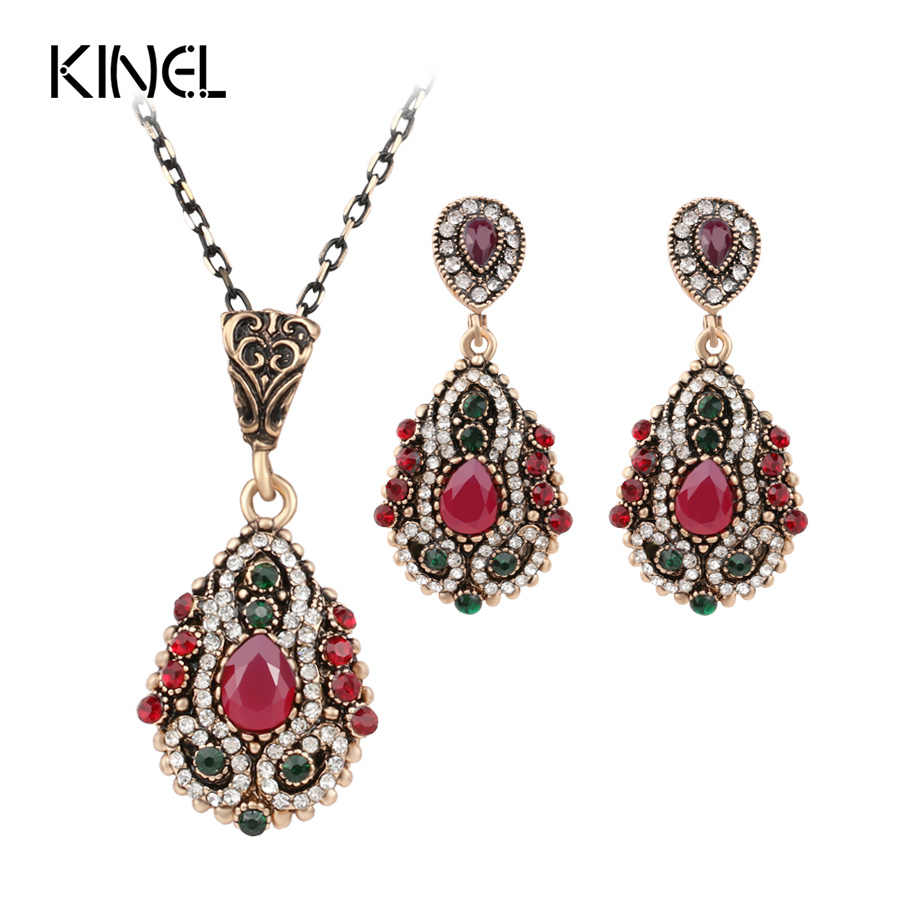 2016 New African Beads Jewelry Set Unique Retro Look Necklaces And Earrings For Women Gold Color Wedding Jewelry