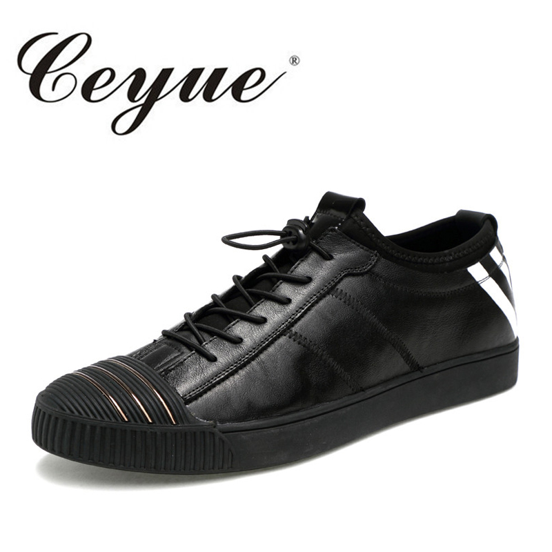 Ceyue New Brand Mens Shoes Casual Breathable Black Loafers Flat Leather Shoes Men 2017 Hot Sale Fashion Walking Shoes For Male men casual shoes mens shoes summer walking canvas shoes black pu basket zapatillas deportivas men brand canvas espadrilles