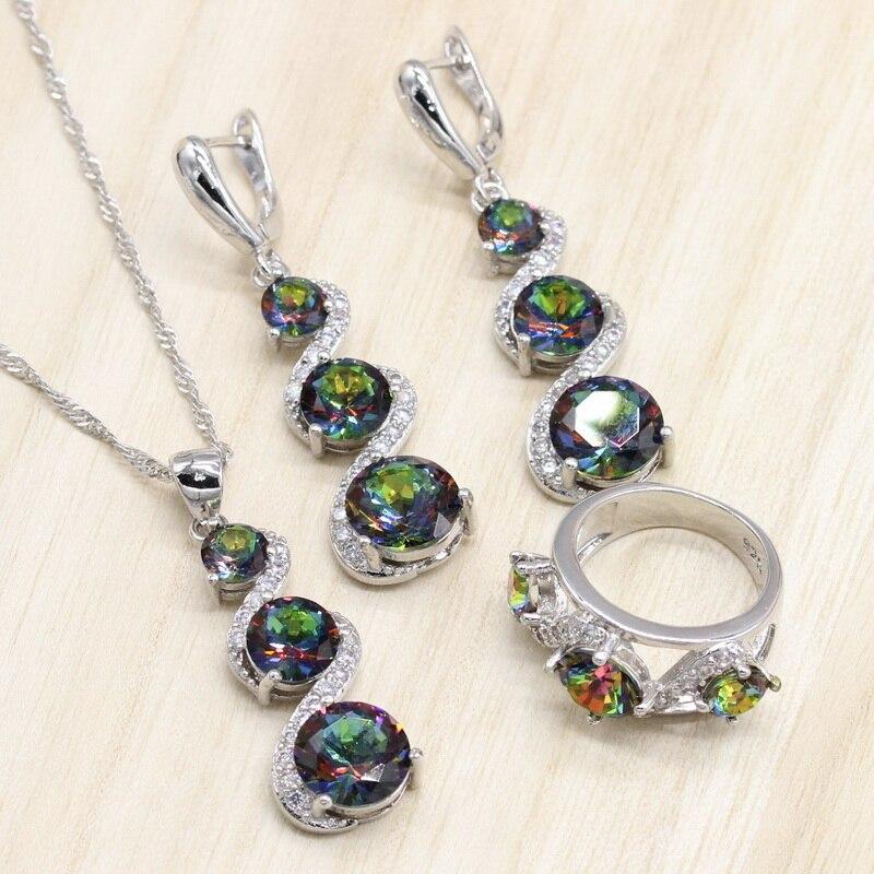 Серебряные Ювелирные наборы для женщин, свадебные украшения, Цветной циркон, ожерелье, кулон, серьги, кольца, набор Nereids Ювелирные наборы      АлиЭкспресс