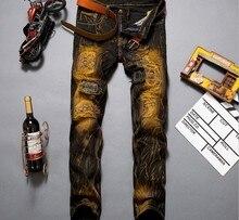 2017 New Fashion Jeans Men Straight Denim Jeans Trousers Plus Size 28-36 High Quality Cotton Logo Brand orange button Mens Pants