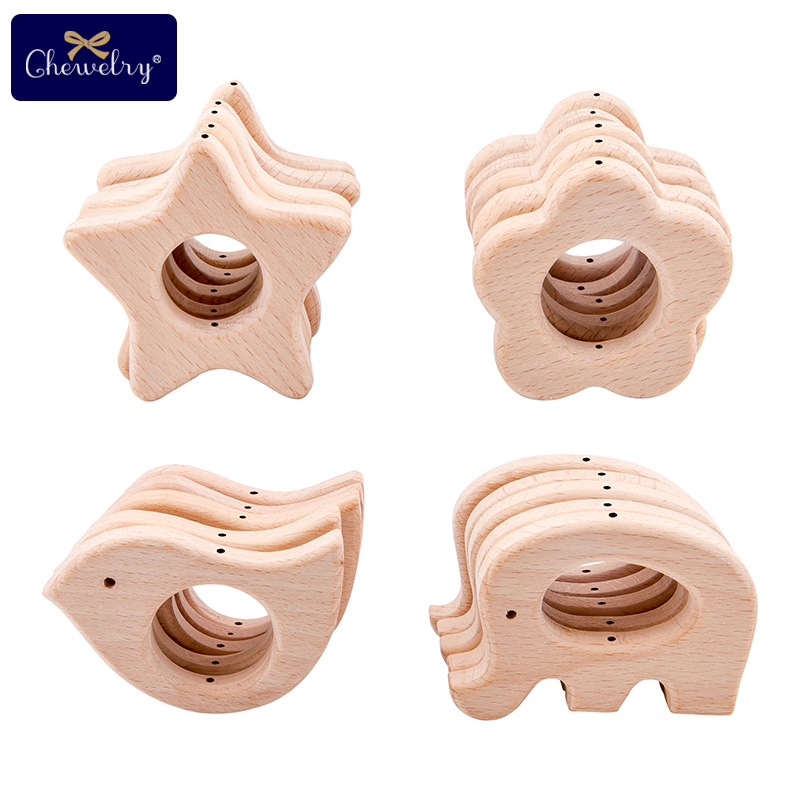 10pc Baby Beech Wooden Animal Teether With Holes Beech Rodent Pacifier Chain Pendant Necklace Teething Toys For Children'S Goods