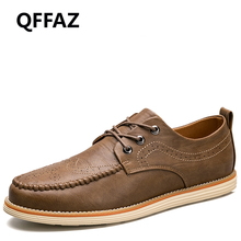 QFFAZ 2018 New Spring Split Leather Men Shoes High Quality Oxford Shoes For Men Lace-Up Breathable Bullock Men Casual Shoes