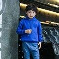 Llanura Niños Niñas Hoodies Ocasionales Niños Azul Jersey de la Manga Completa Outcoat Unisex Básica Ropa de Los Cabritos 2-12 Años AKH165001