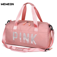 Professional Women Pink Fitness Bag for Yoga Gym Bag Designer Metal Sports Crossbody Bag Female Handbag Travel Duffle Bolsa