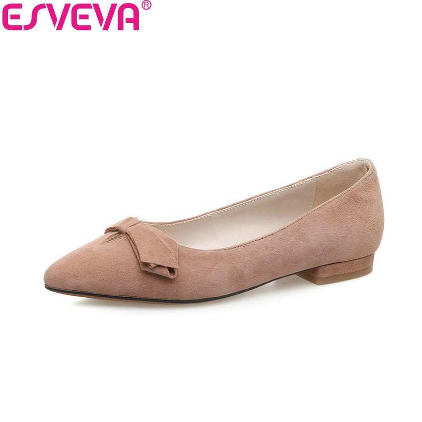 ESVEVA 2018 Pointed Toe Women Pumps Kid Suede PU Square Heels Sweet Style Slip on Spring and Autumn Ladies Shoes Size 34-39 vallkin 2017 women pumps western style butterfly knot med heel pu kid suede pointed toe slingback ladies summer shoes size 34 39