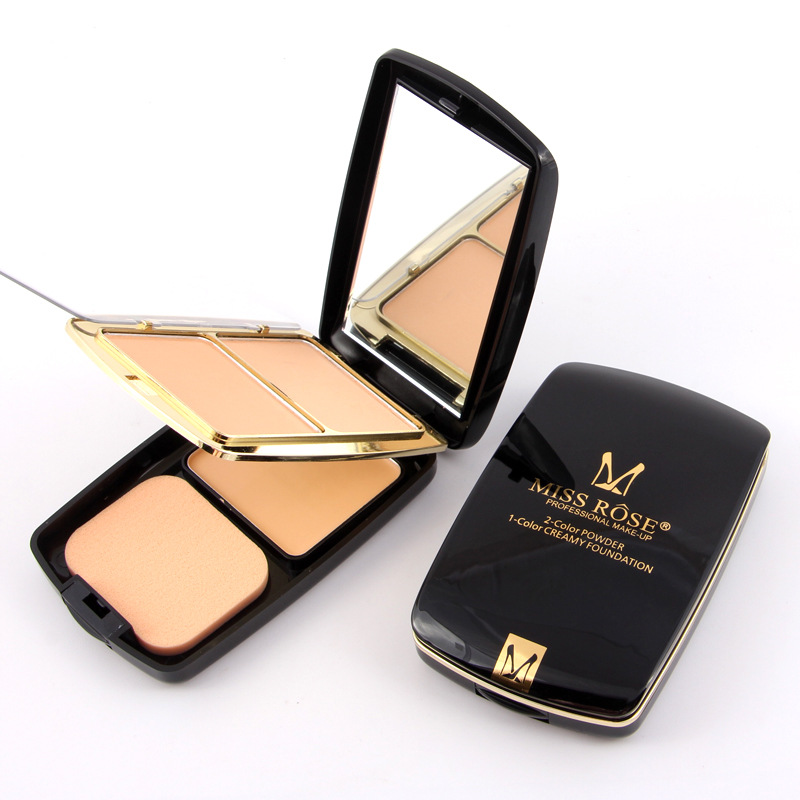 Miss Rose 2 Colors Set One Box Fashion Matte Women Powder Condensate Powder Foundation Air Cushion Powder Box with Beauty Mirror