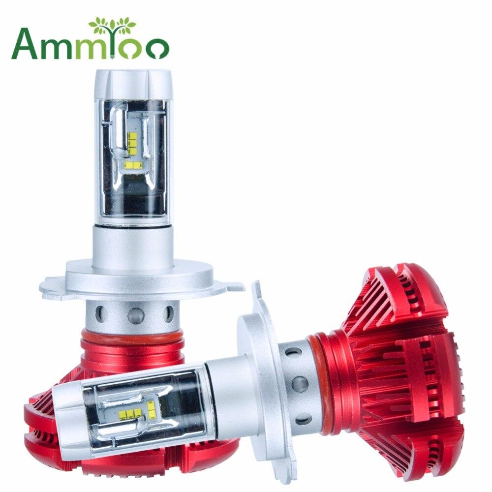 AmmToo H4 H7 H11 Voiture phare LED Ampoule lumière LED X3 50 W 6000LM Puces CREE 9005 9006 LED Automatique de Phare Lumière 3000 K 6500 K 8000 K
