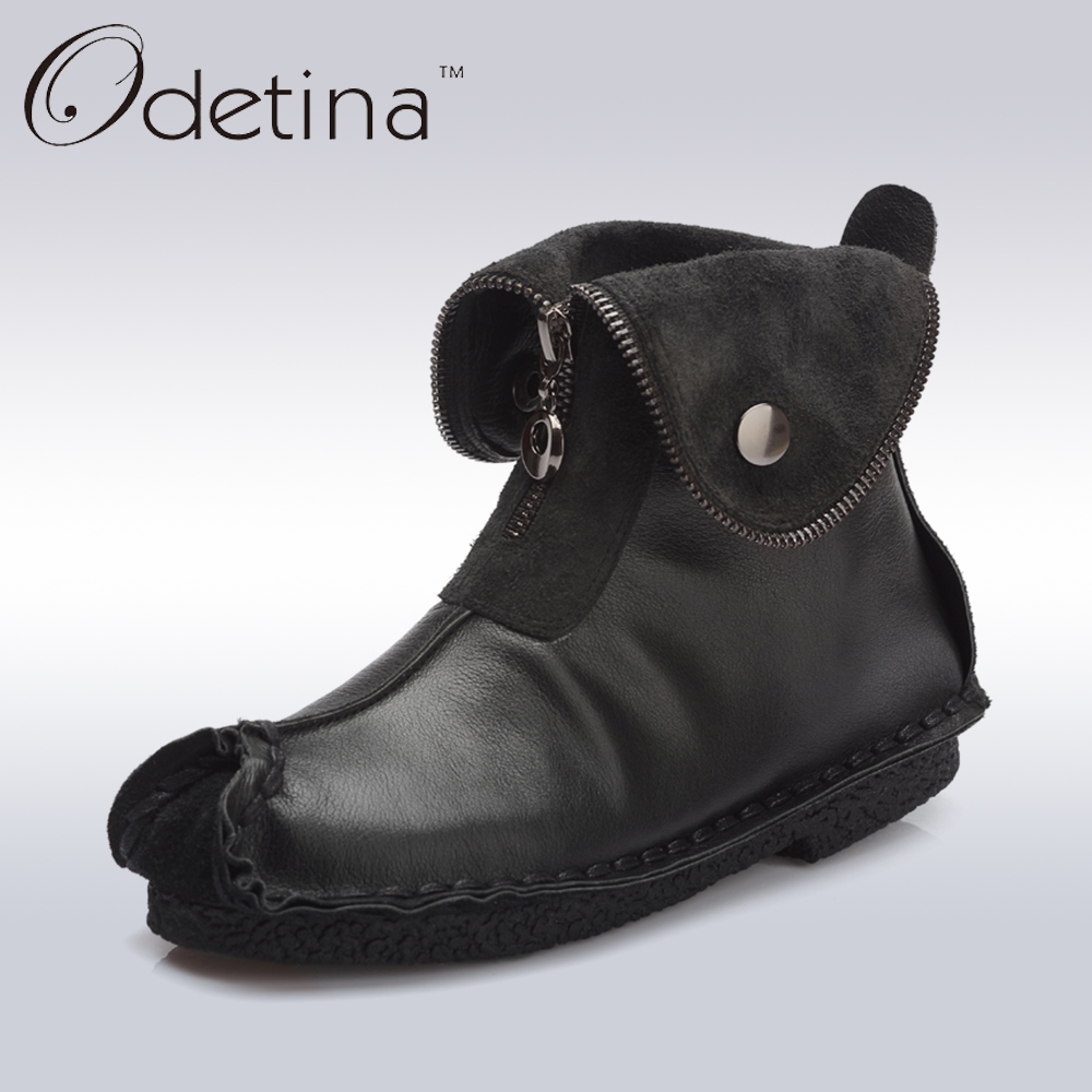 ФОТО Odetina Retro Women Flat Natural Leather Ankle Boots Women Winter Boots Black Casual 2016 Autumn Female Short Boots Waterproof