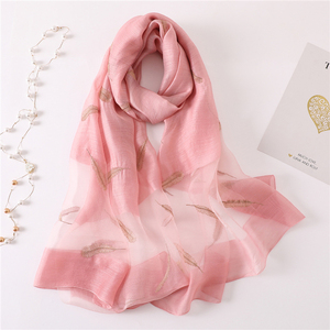 Image 4 - New silk wool scarf women fashion feather embroidery shawl wrap elegant lady Sunscreen pashmina winter neck scarves hijab femme